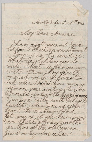 TR to Martha Bulloch Roosevelt, Theodore Roosevelt Sr., and Corinne Roosevelt, April 28, 1868. MS Am 1454.48 (18). Theodore Roosevelt Collection, Houghton Library, Harvard University.