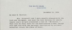 Correspondance Frédéric Mistral - Théodore Roosevelt 1904