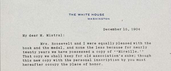 Correspondance Frédéric Mistral – Théodore Roosevelt 1904